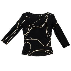 Ellen Tracy Black Tan Pattern 100% Silk Blouse Top